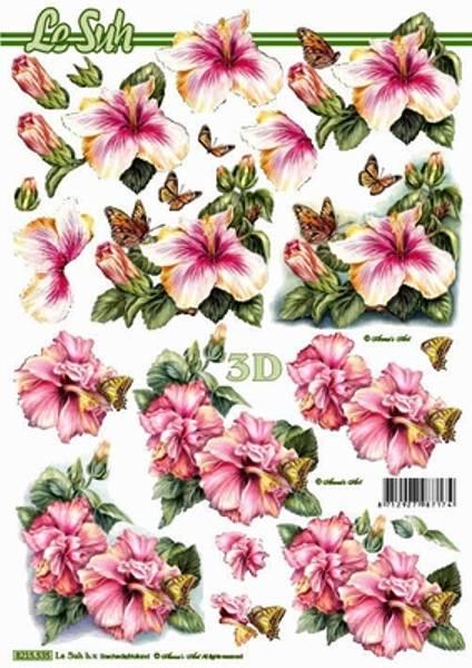 3D ark - Hawaii roser med sommerfugler