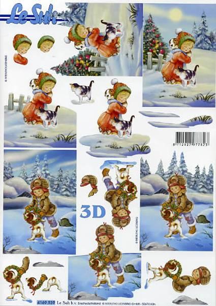 3D ark - Vinterjente og gutt